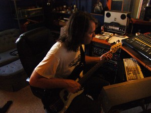 Rich Mattson adding bass to a Marcsonic track at Sparta Sound, July 2013